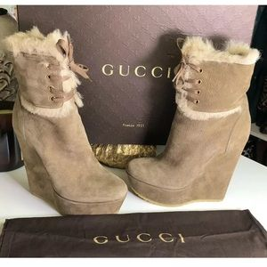 Gucci Authentic Suede Wedge Boots Shearling Lined